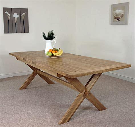 vermont solid oak extending cross legged leg dining table