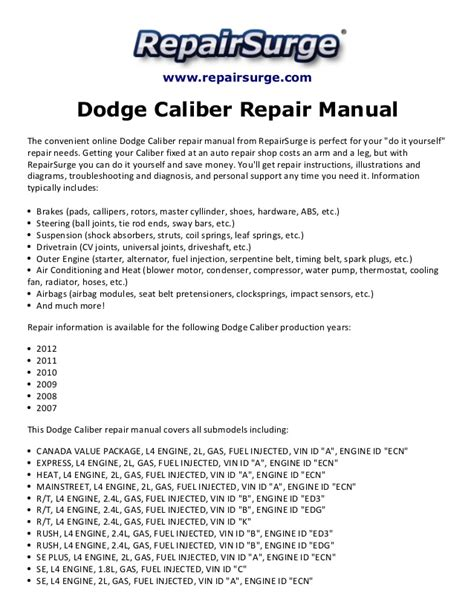 manual repair autos 2011 dodge caliber free book repair manuals dodge caliber repair manual 2007 2012