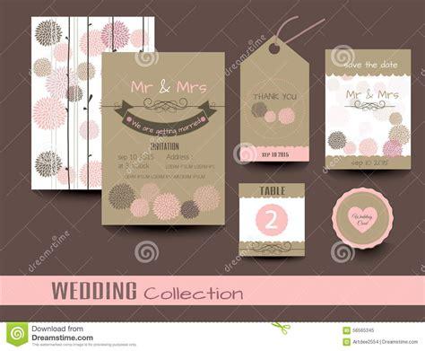 Hochzeitseinladungen Set by Set Hochzeitskarten Danke Zu Kardieren Vektor Stock