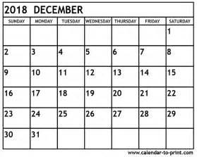 Calendar For 2018 December December 2018 Printable Calendar Calendar 2017 Printable