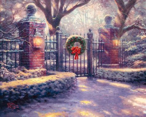christmas gate limited edition art the thomas kinkade