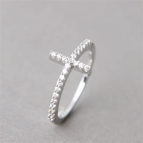 white gold cz sideways cross ring sterling silver