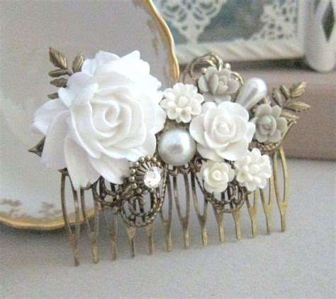 Vintage Bridesmaid Hair Pieces by White Weddings Hair Comb Bridal Hair Bridesmaid Gift