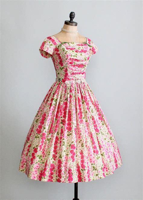 vintage 1950s pink floral garden dress raleigh vintage