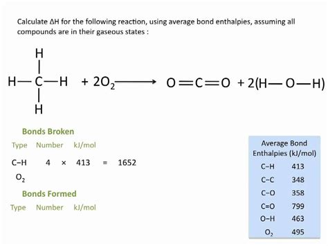bonding tutorial questions enthalpies of reactions using average bond enthalpies