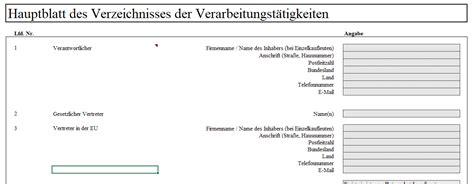 Offentliches Verfahrensverzeichnis Vorlage