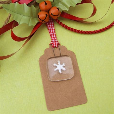 handmade glass keepsake snowflake christmas gift tag by