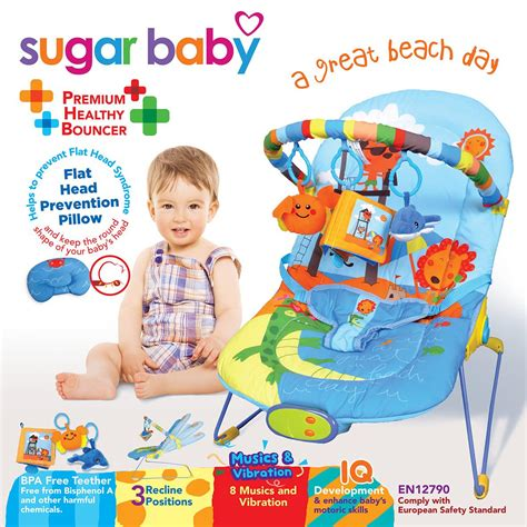 Murah Bouncer Sugar Baby My Rocker 3 Stages Jungle sugar baby 3 recline deluxe musical vibration bouncer baby toko bayi