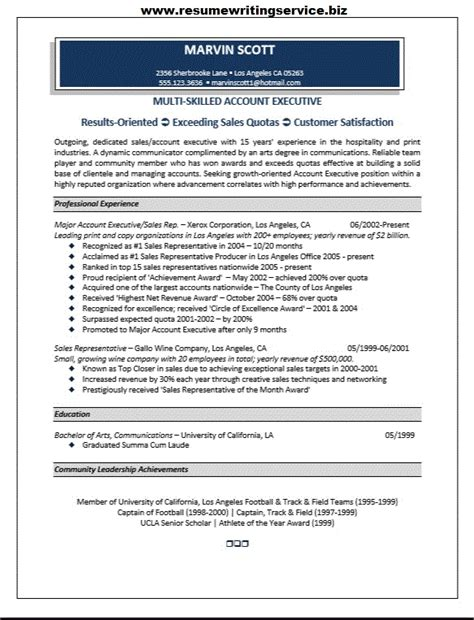 resume templates for account executives account executive resume sle resume writing service