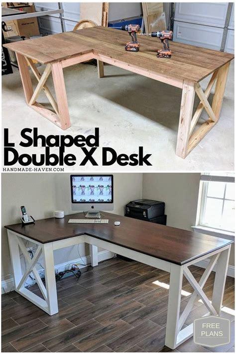 shaped double  desk diy   home desk plans