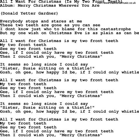 printable lyrics all i want for christmas is you all i want for christmas is my two front teeth by george