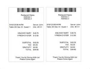 Bill Receipt Template Free by Restaurant Receipt Template 5 Free Word Excel Pdf
