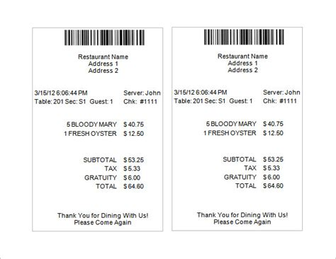 food receipt template restaurant receipt template 5 free word excel pdf