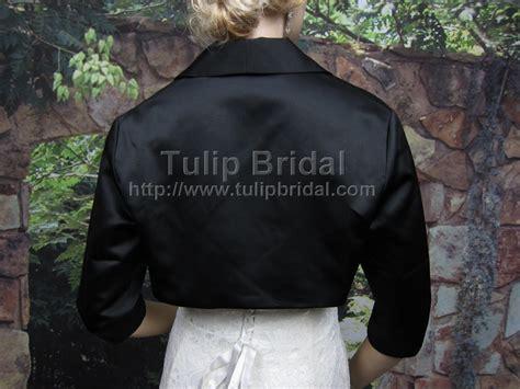Bolero 010 By X black 3 4 sleeve wedding satin bolero jacket satin009 black
