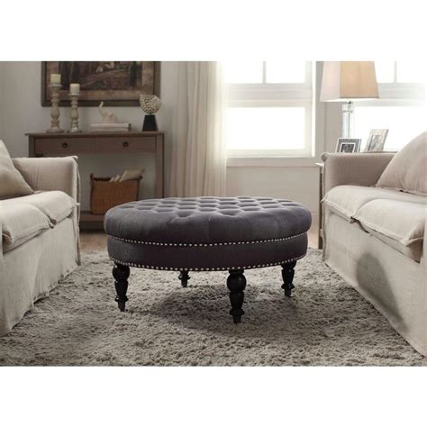 ottoman decor linon home decor isabelle charcoal accent ottoman