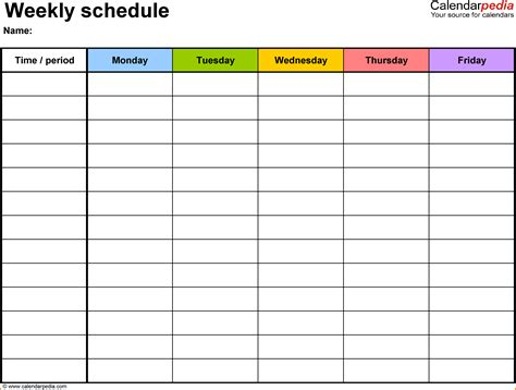 Class Schedule Template weekly class schedule template authorization letter pdf
