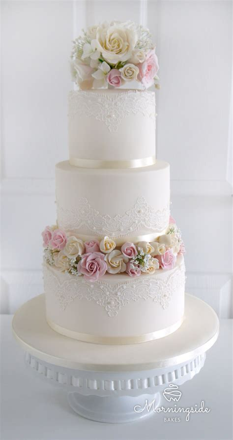 Wedding Cakes Roses by 3 Tier Wedding Cake With Edible Lace Sugar Bouquet