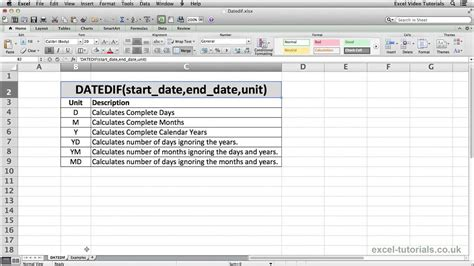 tutorial excel microsoft 2010 microsoft excel tutorial datedif function