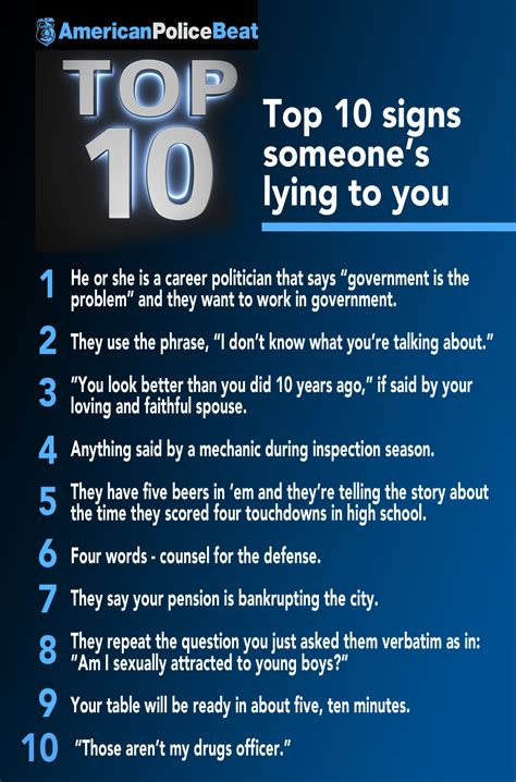 10 Signs Someones Obese by Top 10 Signs Someone S Lying To You American Beat