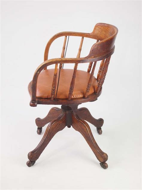 vintage swivel chair uk antique edwardian oak swivel chair with leather seat small