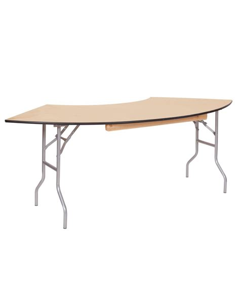 5 Foot Folding Table 5 Foot Serpentine Wood Folding Table For Sale