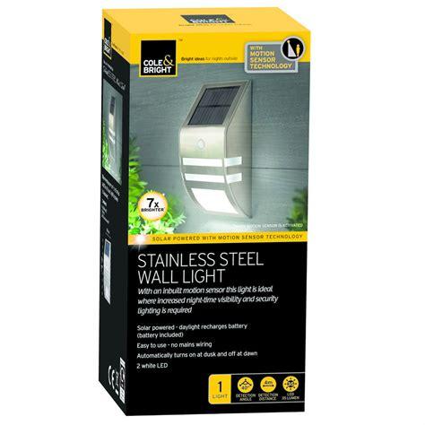 bright solar wall lights cole bright motion sensor solar wall light stainless