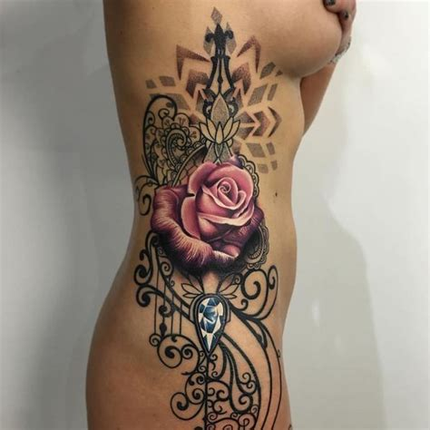 rose rib cage tattoos cool rib tattoos for and guys rib cage