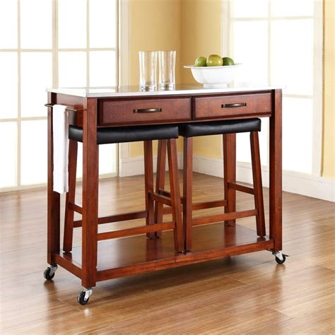 Rolling Kitchen Island Table Kitchen Island Set With Stools On Wheels About Kitchen