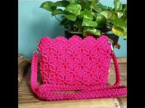 tutorial hiasan rajut tutorial tas tali kur membuat hiasan bunga tas tali kur by