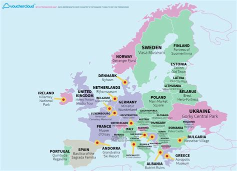 country map tourist attraction of every country in the world on one map