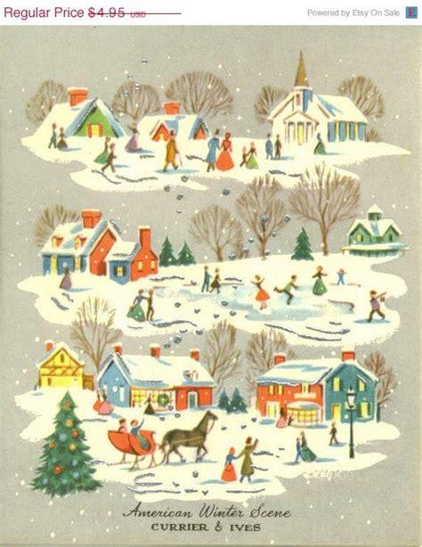 images of vintage christmas scenes vintage christmas card unused american winter scene