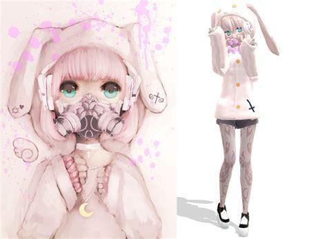 3d Cross Bumper Character Hello Pink pastel dibujo en 3d mmd domestika