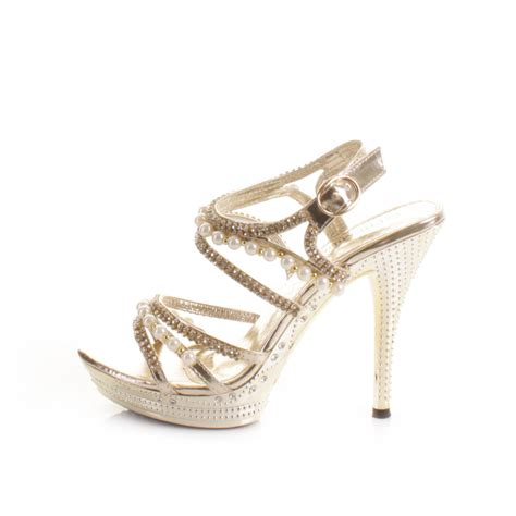 Gold Strappy Shoes Wedding by Womens Gold Pearl Platform Strappy Diamante