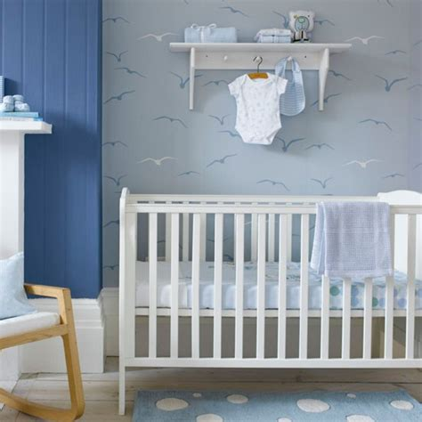 wallpaper for baby bedroom child s nursery with seagull patterned wallpaper boys