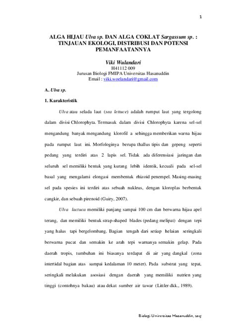 (PDF) ALGA HIJAU Ulva sp. DAN ALGA COKLAT Sargassum sp