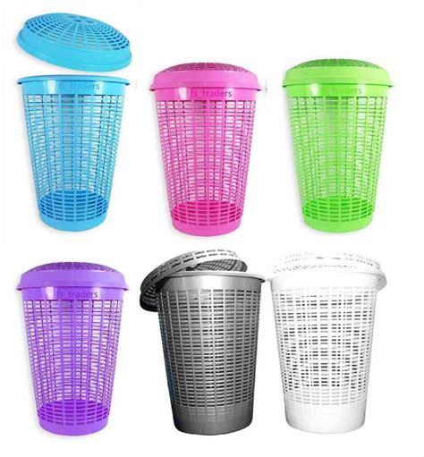 Circular Plastic Laundry Bin Linen Washing Basket Storage Plastic Laundry With Lid