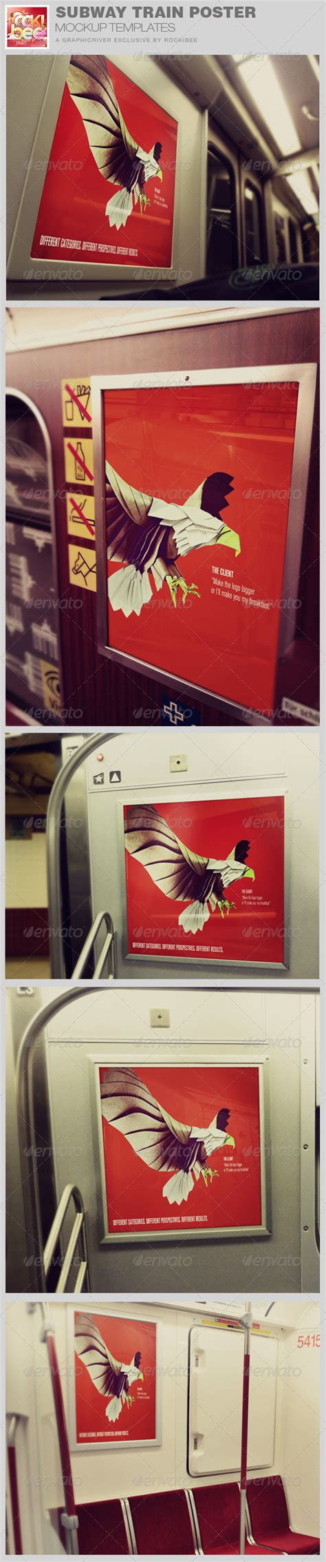 Subway Train Poster Mockup Templates By Rockibee Graphicriver Subway Poster Template