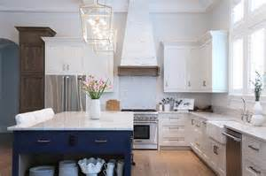 white and navy blue kitchen with white pecky cypress range hood cottage kitchen
