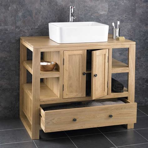 Bathroom Basins And Vanities by 90cm X 55cm Solid Oak Two Door Bathroom Basin Cabinet