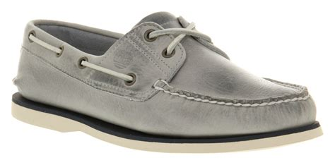 timberland gray boat shoes timberland classic 2 eye boat shoe grey leather in gray