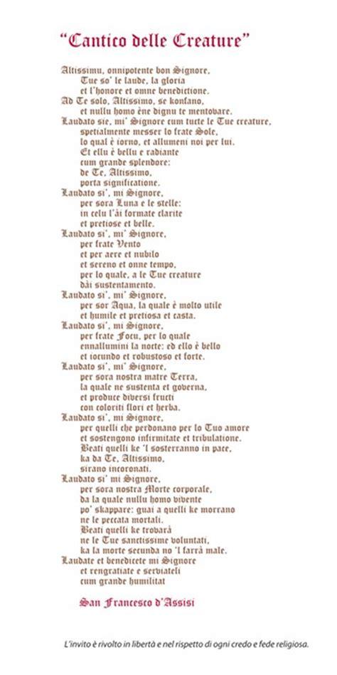il cantico delle creature testo il cantico dei cantici testo san francesco
