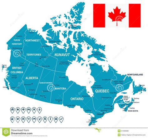 label map of canada canada map flag and navigation labels illustration