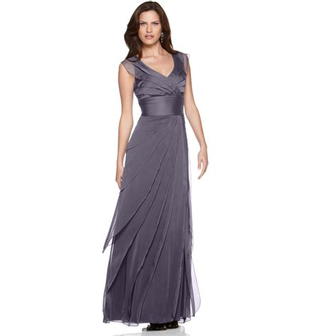papell tiered evening dress in gray grey lyst