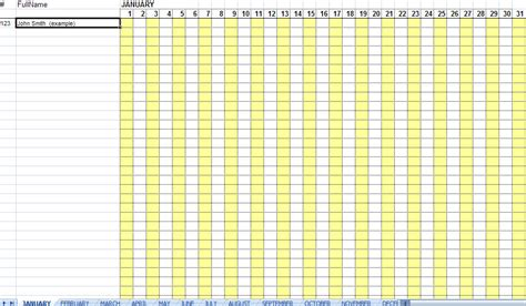 Excellent Monthly Attendance Sheet Template Sle In Excel With White Yellow Background Colors Attendance Sheet Template Excel