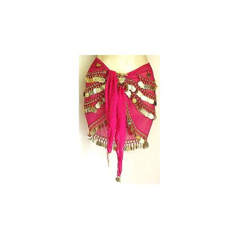 magenta belly hip scarf with coins moon design