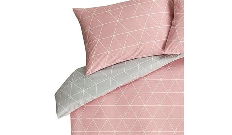 black and white bedding geo reversible pink grey geometric print duvet cover home garden george
