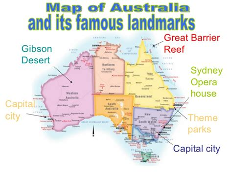 map of with landmarks map of australia landmarks and cities pictures to pin on