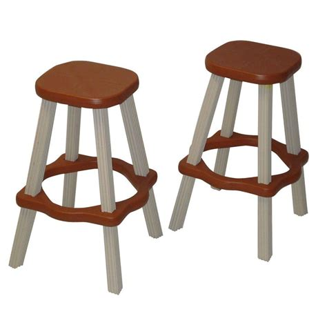 Resin Outdoor Bar Stools by Leisure Accents 26 In Redwood Resin Patio High Bar Stools