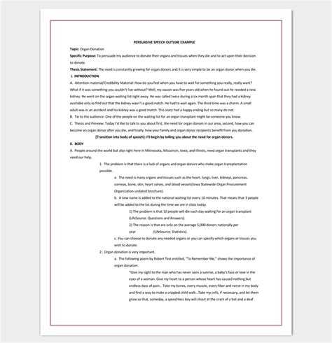 Speech Outline Template 38 Sles Exles And Formats Presentation Outline Template Word
