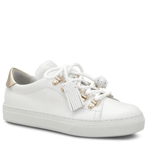 womens white sneaker tods sneaker in leather womens sneakers white gold gfcpa